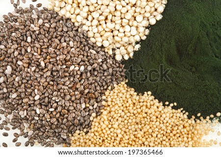 superfoods heap pile collection close up surface top view  - stock photo