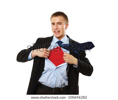 Superhero businessman, isolated on white background - stock photo