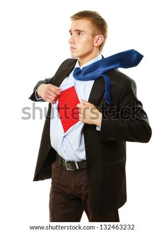 Superhero businessman, isolated on white background - stock photo