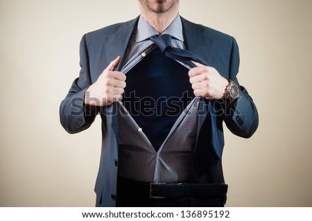 superhero businessman on white background - stock photo