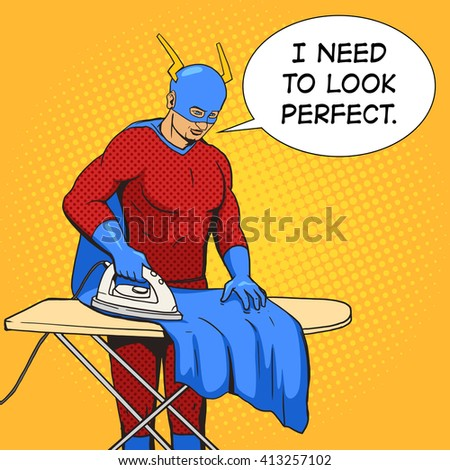Superhero clothes iron mantle cartoon pop art raster illustration. Human comic book vintage retro style.