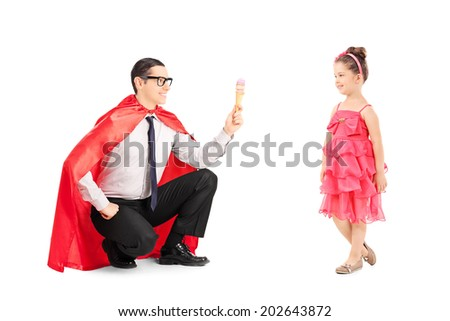 Superhero giving an ice cream to a little girl isolated on white background - stock photo