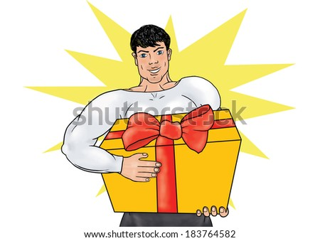 Superhero in his uniform carries a gift with a bow on background with yellow star. Superhero in action. Cartoon character. Healthy man, sportsman, athlete, bodybuilder. - stock photo