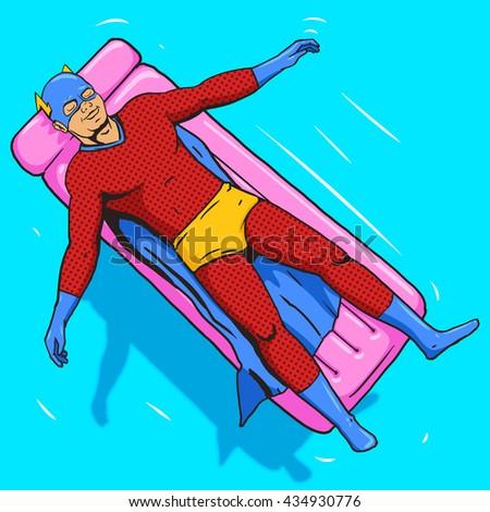 Superhero lying on air mattress on water. Cartoon pop art raster illustration. Human comic book vintage retro style. - stock photo