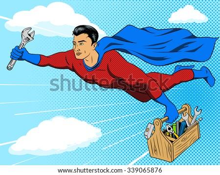 Superhero man with tool box comic book pop art retro style raster illustration. Comic book imitation - stock photo