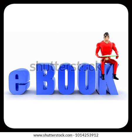 superhero with e book text concept on white background- 3d rendering , front angle view