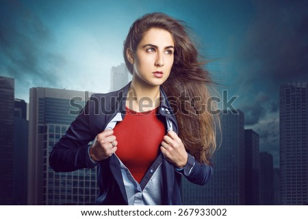 Superhero Woman - stock photo