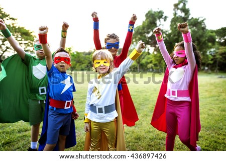 Superheroes Kids Friends Playing Togetherness Concept - stock photo
