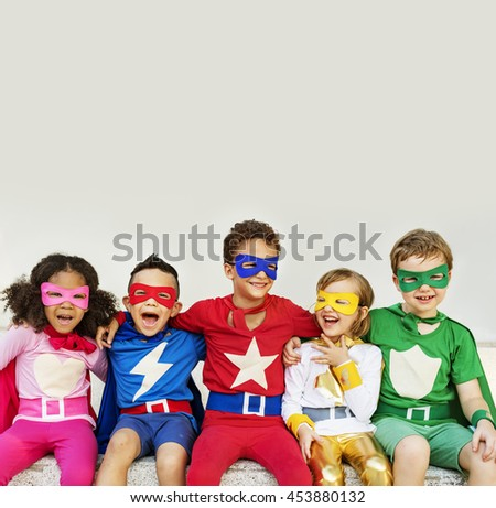 Superheroes Kids Friends Playing Togetherness Fun Concept - stock photo
