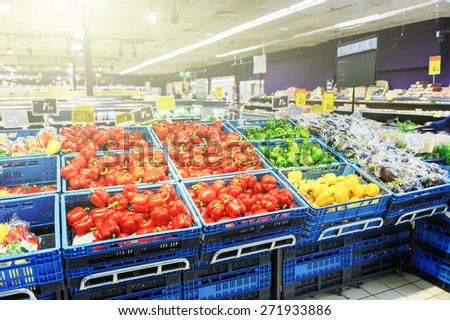 Supermarket background with copyspace - stock photo