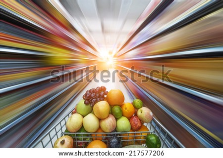 supermarket cart,fruits in the cart - stock photo