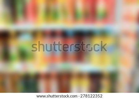 supermarket drink beverages in blurry for background - stock photo