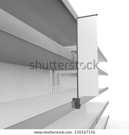 Supermarket empty shelves. 3d render - stock photo