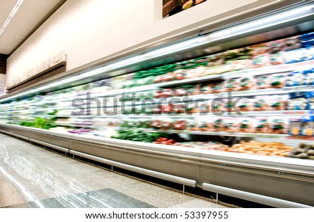 Supermarket interior - stock photo