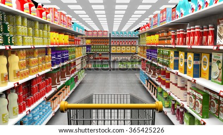 Supermarket interior with shelves full of various products and empty trolley basket - stock photo