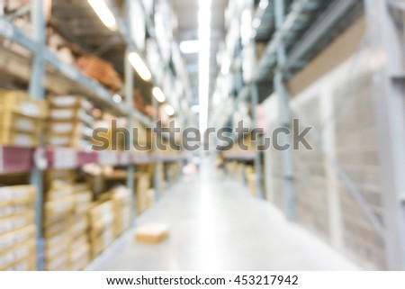 Supermarket of home mart store blur background bokeh, Product shelf at store - stock photo