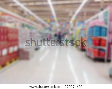 Supermarket or store blur background ,People shopping and product shelf. - stock photo