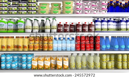 Supermarket refrigerator with various products  - stock photo