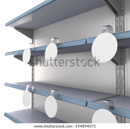 supermarket shelf at an angle with blank wobblers - stock photo