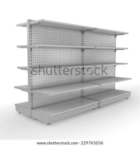 Supermarket shelves - stock photo