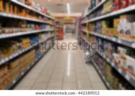 Supermarket shelves with various products out of focus, vanishing point perspective.
