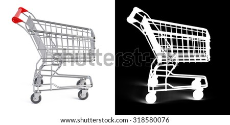 Supermarket shopping cart with opacity mask - stock photo