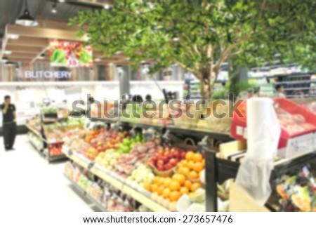 Supermarket store blur background - stock photo