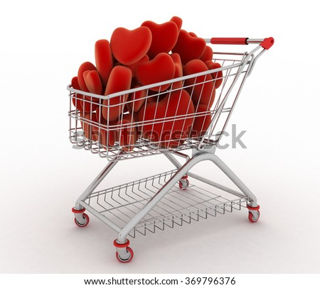 Supermarket trolley full of red hearts. 3d render illustration on white background - stock photo