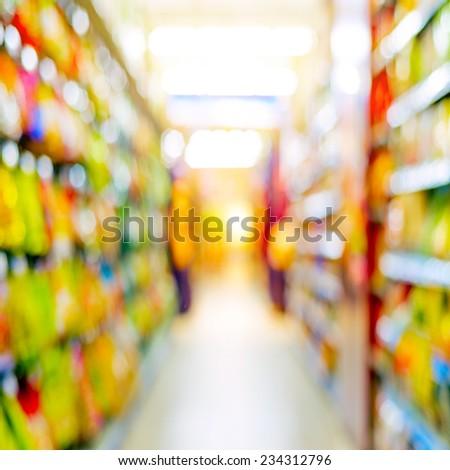 Supermarkets, lens blur effect. - stock photo