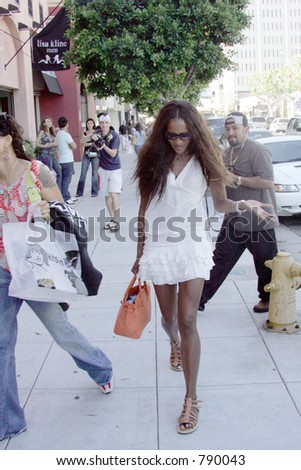 supermodel Naomi Campbell out for a day of shopping in LA hottest Shops - stock photo