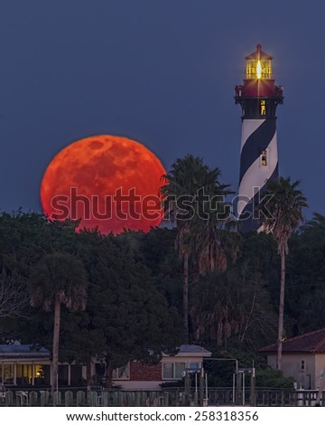 Supermoon at St. Augustine Light ~ Supermoon on March '11 - stock photo