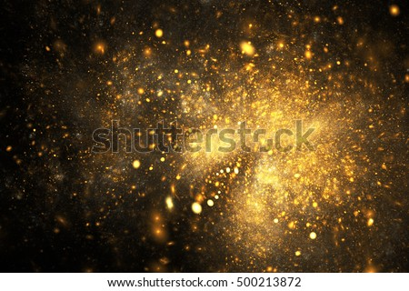 Supernova explosion. Abstract colorful golden sparks on black background. Fantasy fractal texture for posters, postcards or t-shirts.