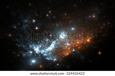 Supernova explosion in the nebula - stock photo