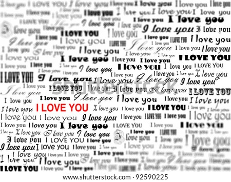 "Superscription ""I love you"" with a bokeh imitation"