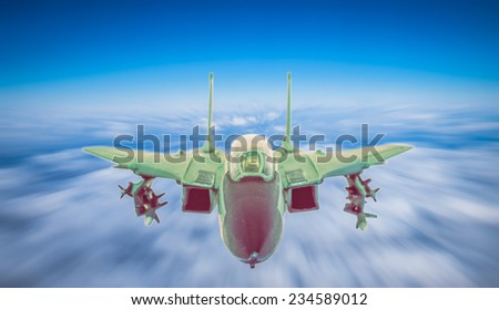 supersonic fighter jet over the clouds. concept about military - stock photo