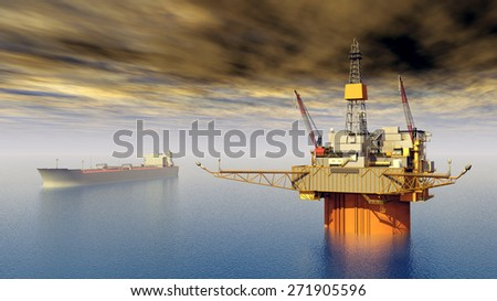 Supertanker and Oil Platform Computer generated 3D illustration - stock photo