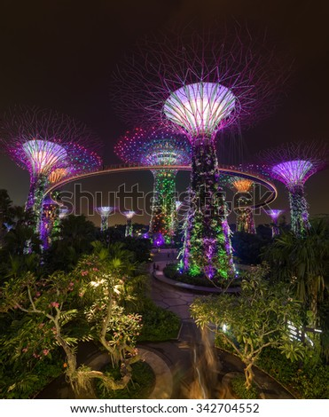 supertree garden at night garden by the bay singapore - Garden By The Bay At Night