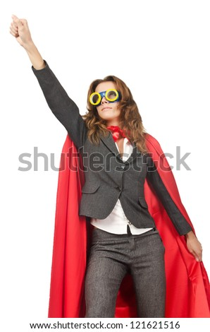 Superwoman isolated on the white - stock photo