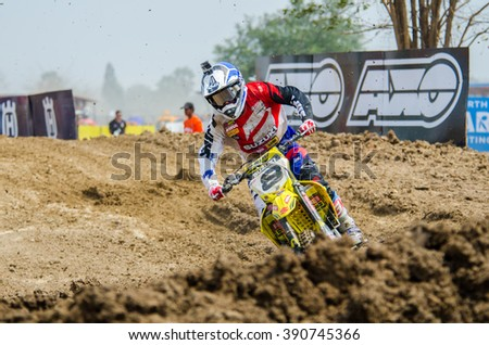SUPHANBURI - MARCH 06 : Ben Townley #8 with Suziki Motorcycle in competes during the FIM MXGP Motocross Wolrd Championship Grand Prix of Thailand 2016 on March 06, 2016 in Suphanburi, Thailand. - stock photo