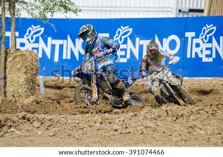SUPHANBURI - MARCH 06 : Benoit Paturel #6 with Yamaha Motorcycle in competes during the FIM MXGP Motocross Wolrd Championship Grand Prix of Thailand 2016 on March 06, 2016 in Suphanburi, Thailand. - stock photo