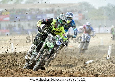 SUPHANBURI-MARCH06:Clement Desalle Team Monster Energy Kawasaki in competes during Race1 MXGP class the FIM Motocross Wolrd Championship Grand Prix of Thailand on March 06,2016 in Thailand. - stock photo