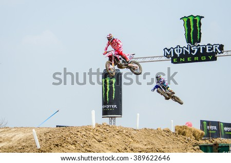 SUPHANBURI - MARCH 06 : Gajser Tim #243 with Honda Motorcycle in competes during the FIM MXGP Motocross Wolrd Championship Grand Prix of Thailand 2016 on March 06, 2016 in Suphanburi, Thailand. - stock photo