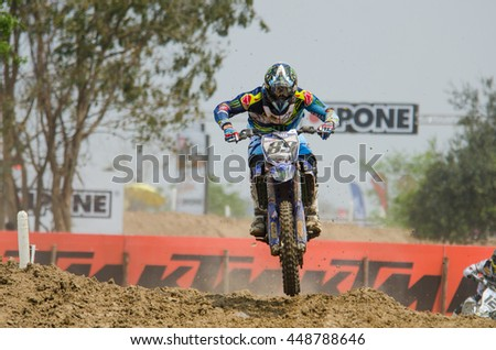 SUPHANBURI - MARCH 06 : Jeremy Van Horebeek with Yamaha Motorcycle in competes during the FIM MXGP Motocross Wolrd Championship Grand Prix of Thailand 2016 on March 06, 2016 in Suphanburi, Thailand. - stock photo
