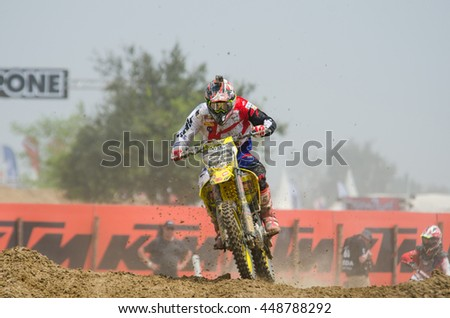 SUPHANBURI - MARCH 06 : Kevin Strijbos #22 with Suzuki Motorcycle in competes during the FIM MXGP Motocross Wolrd Championship Grand Prix of Thailand 2016 on March 06, 2016 in Suphanburi, Thailand. - stock photo