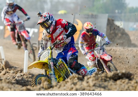 SUPHANBURI - MARCH 06 : Kevin Strijobs #22 with Suzuki Motorcycle in competes during the FIM MXGP Motocross Wolrd Championship Grand Prix of Thailand 2016 on March 06, 2016 in Suphanburi, Thailand. - stock photo