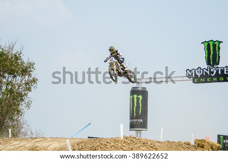 SUPHANBURI - MARCH 06: Nagl Maximilian #12 with husqvarna Motorcycle in competes during the FIM MXGP Motocross Wolrd Championship Grand Prix of Thailand 2016 on March 06, 2016 in Suphanburi, Thailand. - stock photo