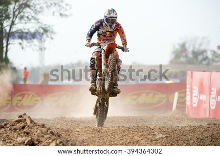 SUPHANBURI-MARCH 05:Pauls Jonass Team Red Bull KTM Factory Racing in competes during Qualifying Race MX2 class the FIM Motocross Wolrd Championship Grand Prix of Thailand on March 05,2016 in Thailand. - stock photo