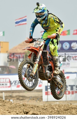 SUPHANBURI-MARCH 06:Shaun Simpson  No.24 Wilvo Virus Performance KTM in competes during  Race1 MXGP class the FIM Motocross Wolrd Championship Grand Prix of Thailand on March 06,2016 in Thailand. - stock photo