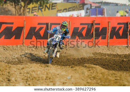 SUPHANBURI - MARCH 06 : Snow Alex #31 with Yamaha Motorcycle in competes during the FIM MXGP Motocross Wolrd Championship Grand Prix of Thailand 2016 on March 06, 2016 in Suphanburi, Thailand. - stock photo
