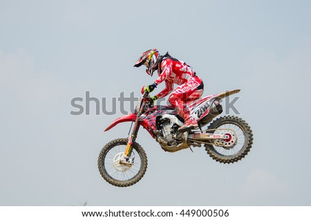SUPHANBURI - MARCH 06 : Tim Gajser #243 with Honda Motorcycle in competes during the FIM MXGP Motocross Wolrd Championship Grand Prix of Thailand 2016 on March 06, 2016 in Suphanburi, Thailand.